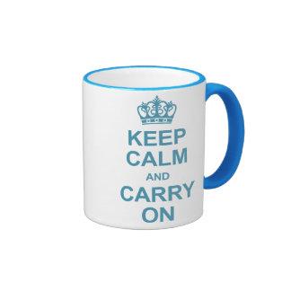 Guarde la calma y continúe - los azules claros tazas