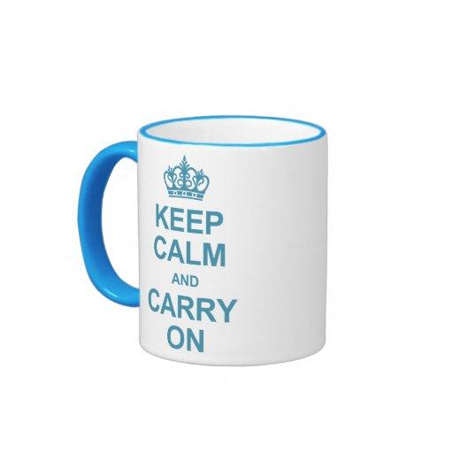 Guarde la calma y continúe - los azules claros taza de dos colores