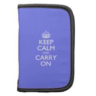 Guarde la calma y continúe. Modelo violeta azul de Organizador