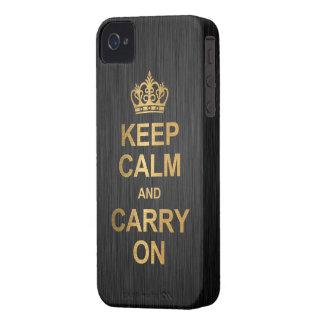 Guarde la calma y continúe - negro y oro Case-Mate iPhone 4 cárcasa