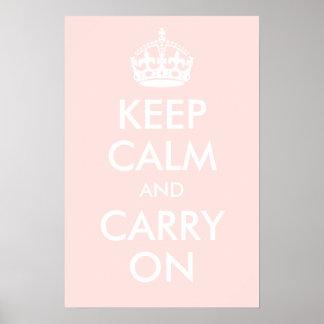 Guarde la calma y continúe pálido - impresión rosa posters