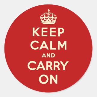 Guarde la calma y continúe pegatinas redondas