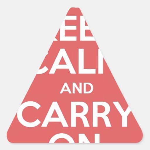 Guarde la calma y continúe pegatina triangular