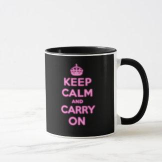 Guarde la calma y continúe, pique el resplandor taza