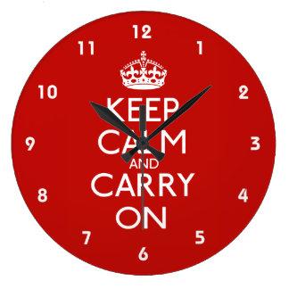 Guarde la calma y continúe reloj redondo grande