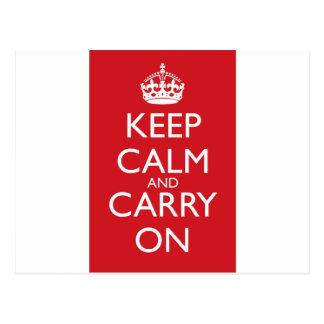 Guarde la calma y continúe: Rojo del coche de bomb Postales