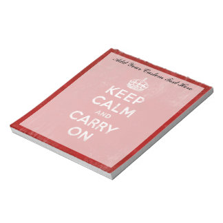 Guarde la calma y continúe, rojo del vintage y bla libretas para notas