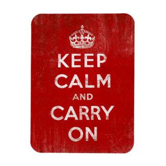 Guarde la calma y continúe, rojo del vintage y bla imanes rectangulares