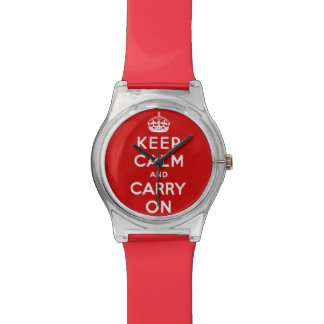guarde la calma y continúe - rojo y blanco reloj de mano