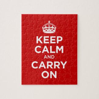 Guarde la calma y continúe rompecabeza