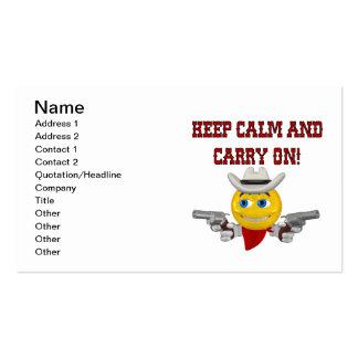 Guarde la calma y continúe tarjetas de visita