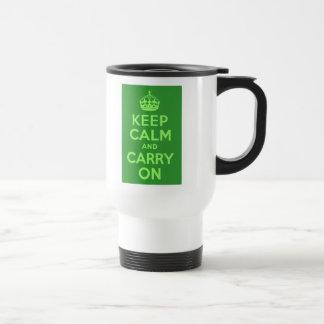 Guarde la calma y continúe taza de viaje