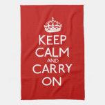 Guarde la calma y continúe toalla de mano