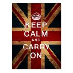 """""""Guarde la calma y continúe"""" (Union Jack) Postal"""