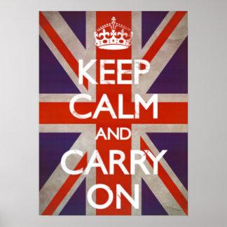Guarde la calma y continúe - Union Jack Póster