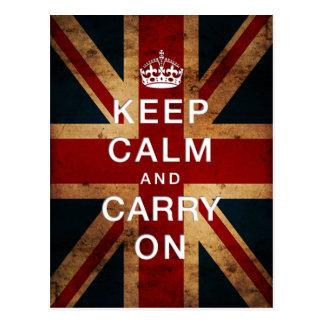 """""""Guarde la calma y continúe"""" (Union Jack) Tarjetas Postales"""