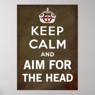 Guarde la calma y continúe y apunte para el zombi  póster