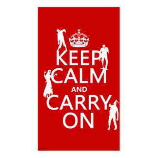 Guarde la calma y continúe (zombis) (cualquier col plantilla de tarjeta de negocio