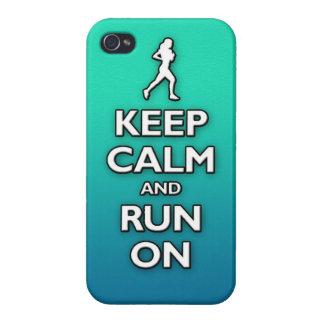 GUARDE la calma y corra encendido iPhone 4 Fundas
