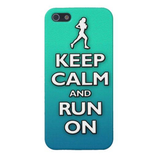 GUARDE la calma y corra encendido iPhone 5 Funda