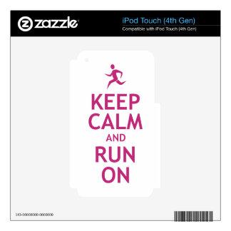 Guarde la calma y corra encendido iPod touch 4G calcomanías
