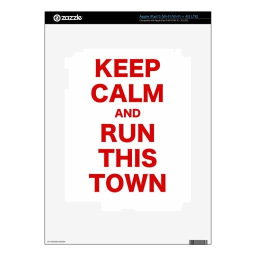 Guarde la calma y corra esta ciudad iPad 3 pegatinas skins