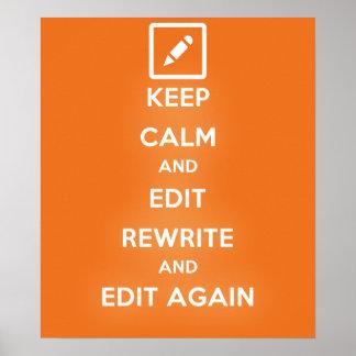 Guarde la calma y corrija la reescritura y póster