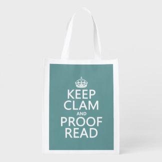 Guarde la calma y corríjala (almeja) (cualquier bolsa de la compra