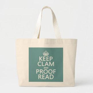 Guarde la calma y corríjala (almeja) (cualquier bolsa tela grande