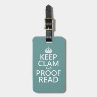 Guarde la calma y corríjala (almeja) (cualquier co etiquetas para maletas