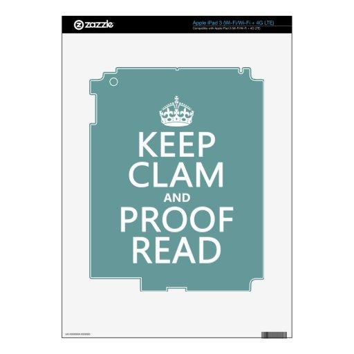 Guarde la calma y corríjala (almeja) (cualquier co iPad 3 skins