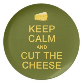 Guarde la calma y corte la placa del personalizado plato para fiesta
