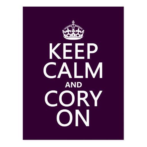 Guarde la calma y Cory en (cualquier color de fond Tarjetas Postales