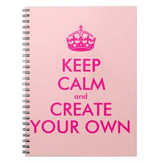 Guarde la calma y cree sus los propios - rosa libros de apuntes