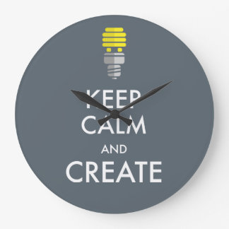 Guarde la calma y créela reloj redondo grande