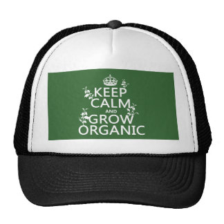 Guarde la calma y crezca orgánico (todos los color gorro