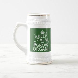 Guarde la calma y crezca orgánico (todos los color tazas