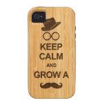 Guarde la calma y crezca un bigote en la mirada de Case-Mate iPhone 4 fundas