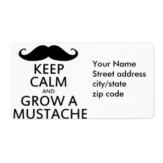 Guarde la calma y crezca un bigote etiquetas de envío