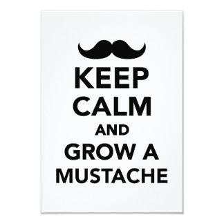 Guarde la calma y crezca un bigote invitación 8,9 x 12,7 cm