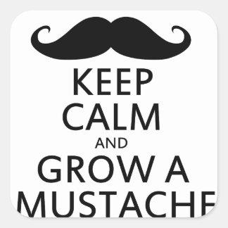 Guarde la calma y crezca un bigote pegatina cuadrada