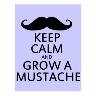 Guarde la calma y crezca un bigote postales
