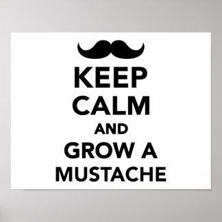 Guarde la calma y crezca un bigote póster