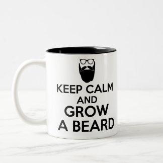 guarde la calma y crezca una barba taza de dos tonos