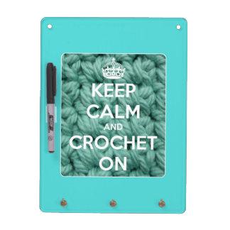 Guarde la calma y Crochet en azul Pizarra