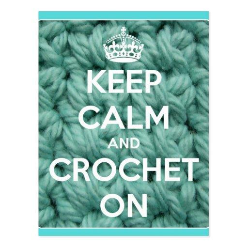 Guarde la calma y Crochet en azul Tarjetas Postales