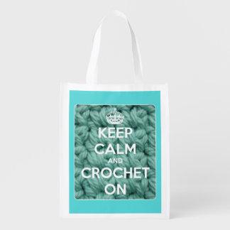 Guarde la calma y Crochet en azul y blanco Bolsa De La Compra
