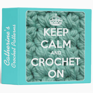 """Guarde la calma y Crochet en azul y blanco Carpeta 2"""""""