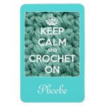 Guarde la calma y Crochet en el azul personalizado Imán De Vinilo