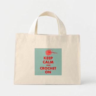 Guarde la calma y Crochet en los regalos Bolsa Tela Pequeña
